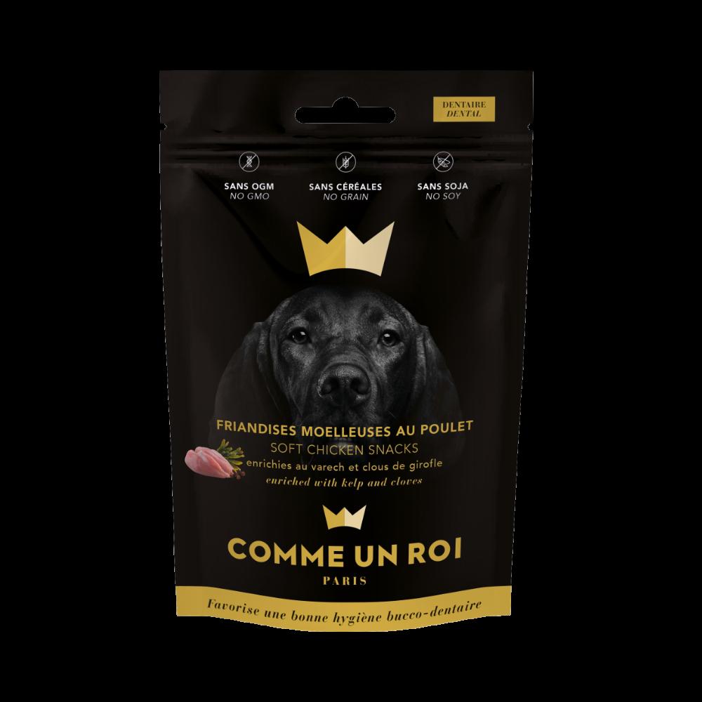 Comme Un Roi - Friandises Sans Céréale Poulet Varech pour la Dentition Chien 100 gr