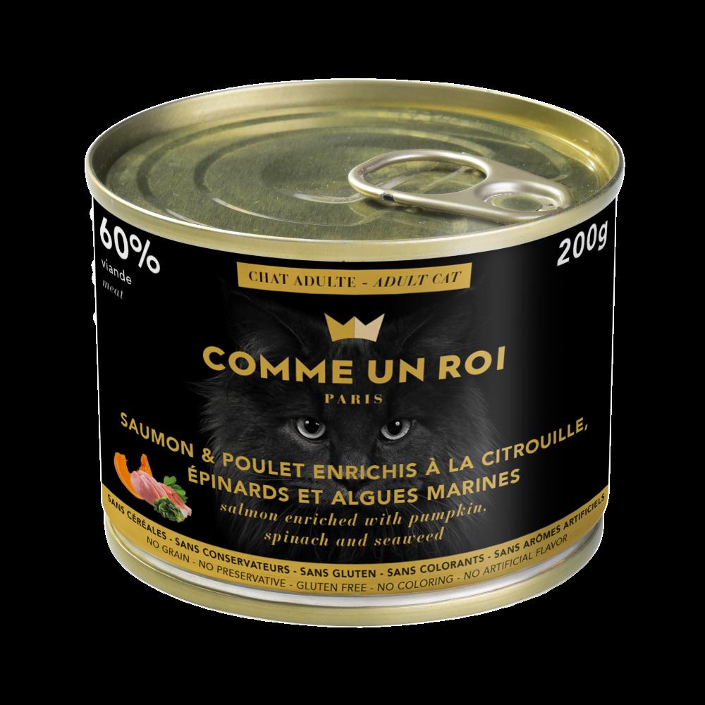 Comme Un Roi - Pâtée Sans Céréales Saumon Chat Adulte 200 gr
