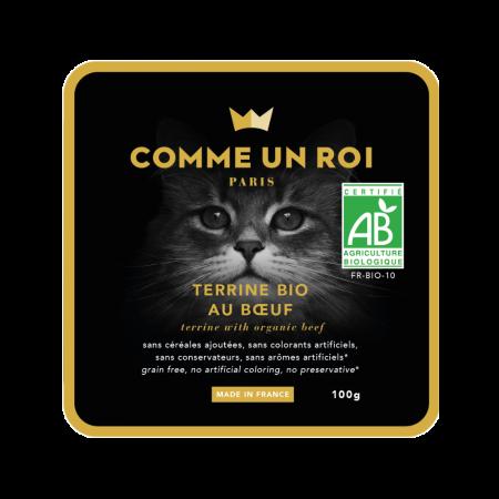 Comme Un Roi - Terrine Bio Sans Céréales Ajoutées au Bœuf Chat 100 gr