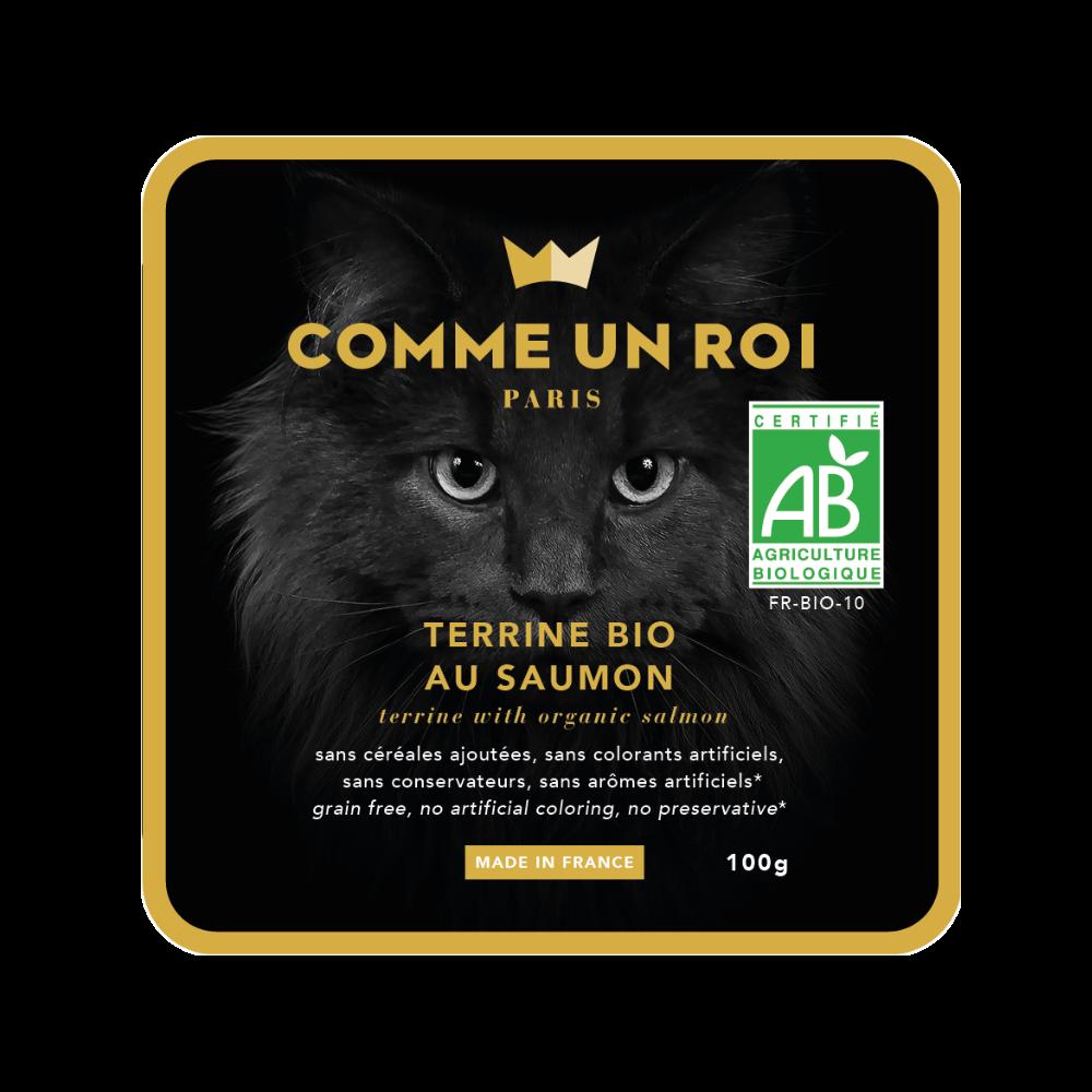 Comme Un Roi - Terrine Bio Sans Céréales Ajoutées au Saumon Chat 100 gr