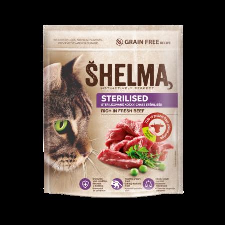Shelma -  Croquettes Sans Céréales riches en boeuf Chat Stérilisé