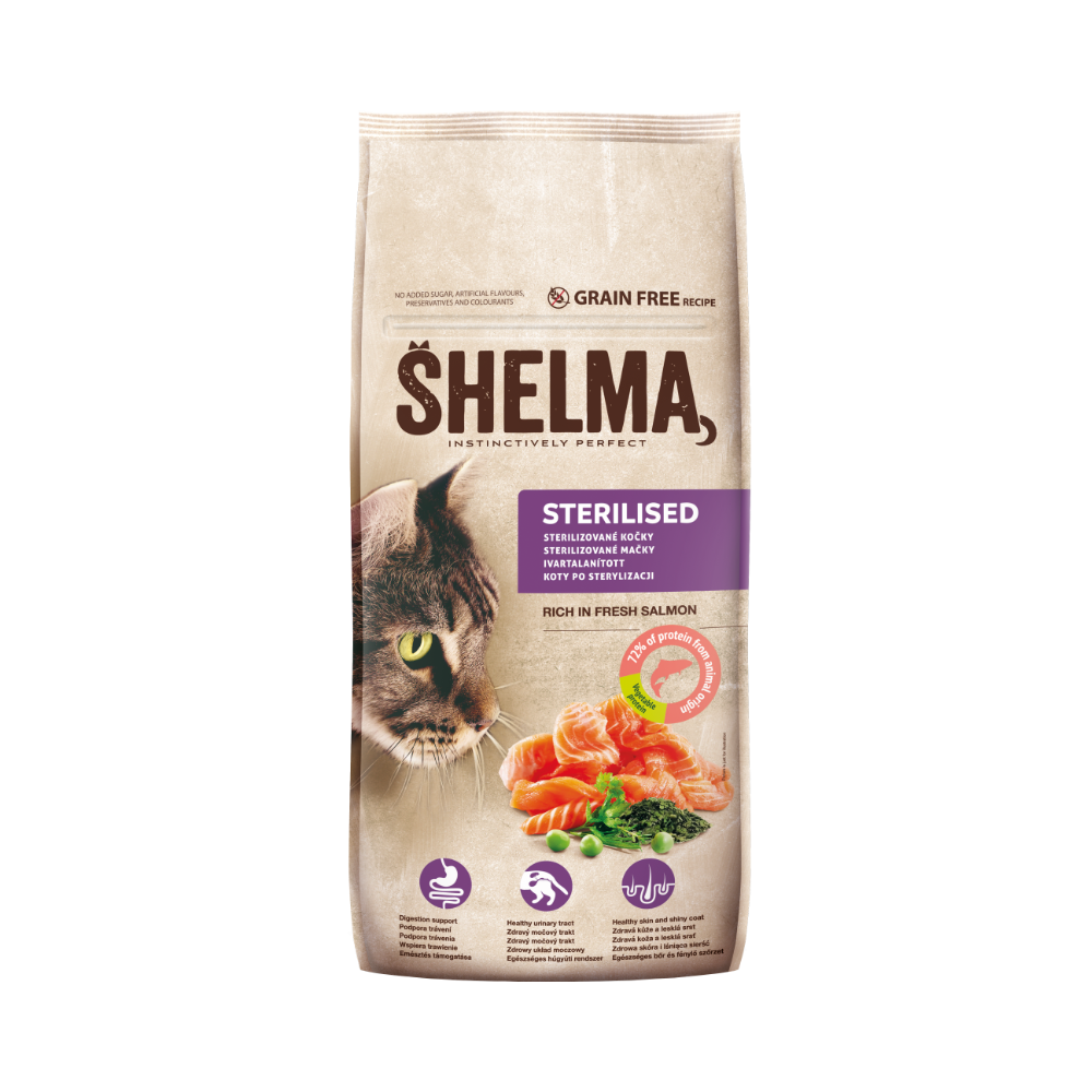 Shelma -  Croquettes Sans Céréales riches en saumon Chat Stérilisé
