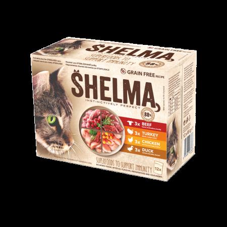 Shelma -  Filets cuits à la vapeur Sans Céréales, assortiments 12 sachets viandes Chat