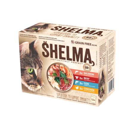 Shelma -  Filets cuits à la vapeur Sans Céréales, assortiments 12 sachets viandes et poissons Chat
