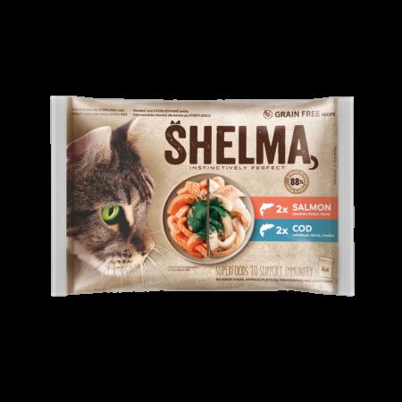 Shelma -  Filets cuits à la vapeur Sans Céréales, assortiments 4 sachets poissons Chat 4x85 gr