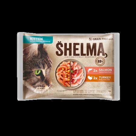 Shelma -  Filets cuits à la vapeur Sans Céréales, assortiments 4 sachets poissons Chaton 4x85gr
