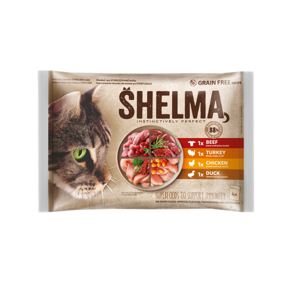 Shelma -  Filets cuits à la vapeur Sans Céréales, assortiments 4 sachets viandes Chat