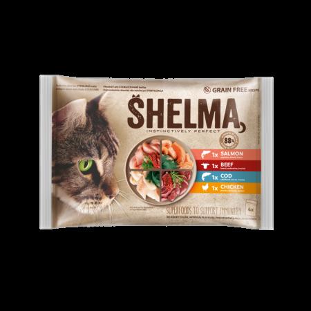 Shelma -  Filets cuits à la vapeur Sans Céréales, assortiments 4 sachets viandes et poissons Chat