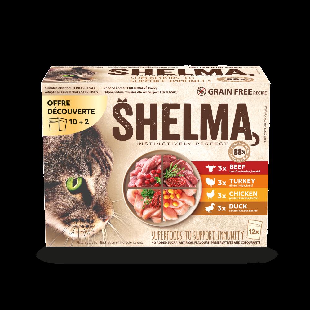 Shelma -  Filets cuits à la vapeur Sans Céréales, offre 10+2 sachets viandes Chat