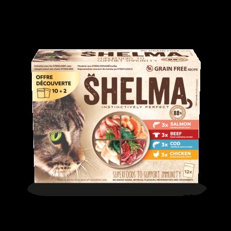 Shelma -  Filets cuits à la vapeur Sans Céréales, offre 10+2 sachets viandes et poissons Chat