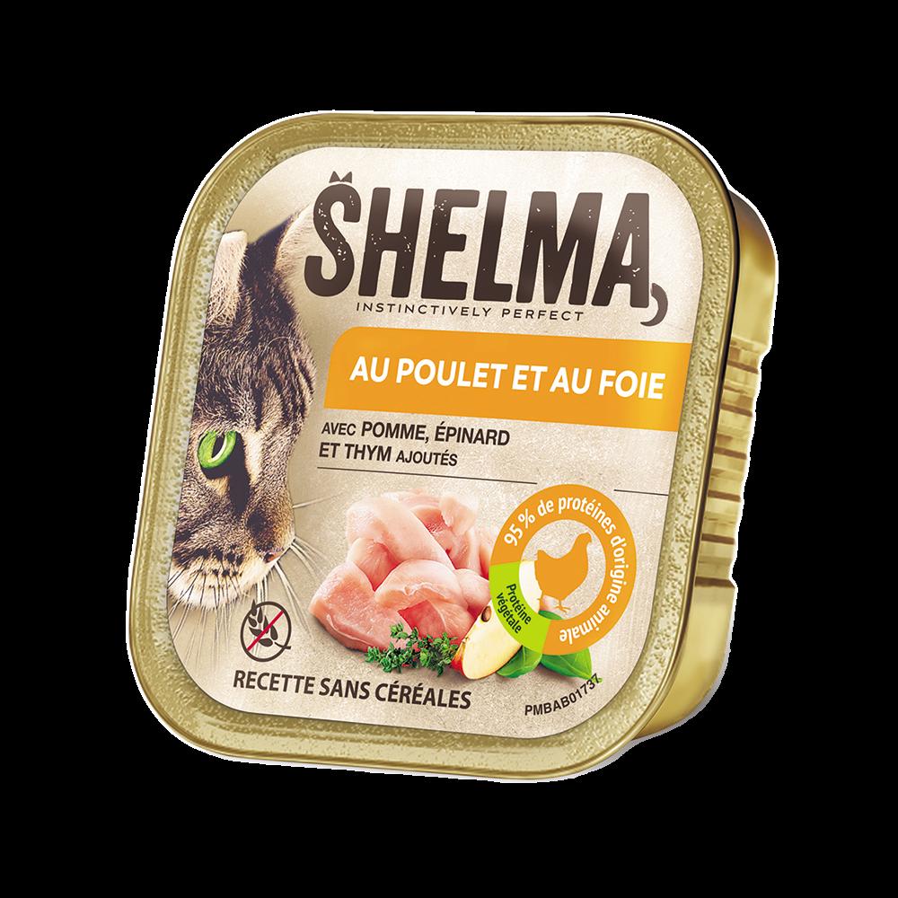 Shelma -  Terrine Sans Céréales Poulet foie épinard Chat 100 gr