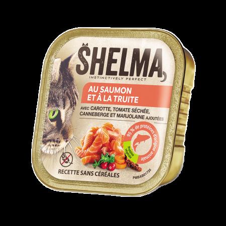 Shelma -  Terrine Sans Céréales Saumon truite tomate séchée Chat 100 gr
