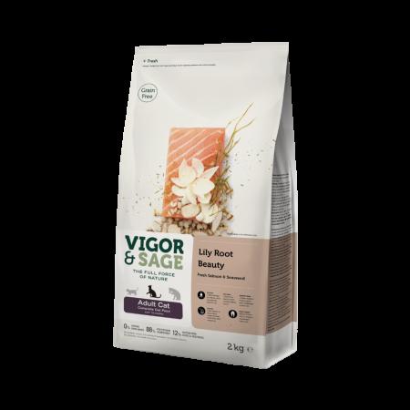 Vigor & Sage - Croquettes Sans Céréales Racine de Lys et Saumon Chat